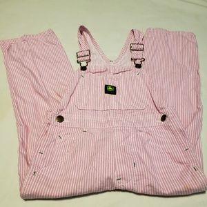 John Deere girl's pink/white striped overalls